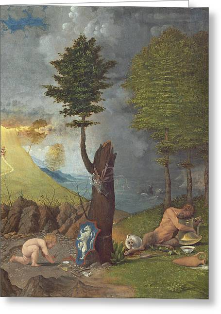 Allegory Of Virtue And Vice, 1505 Oil On Panel Greeting Card by Lorenzo Lotto