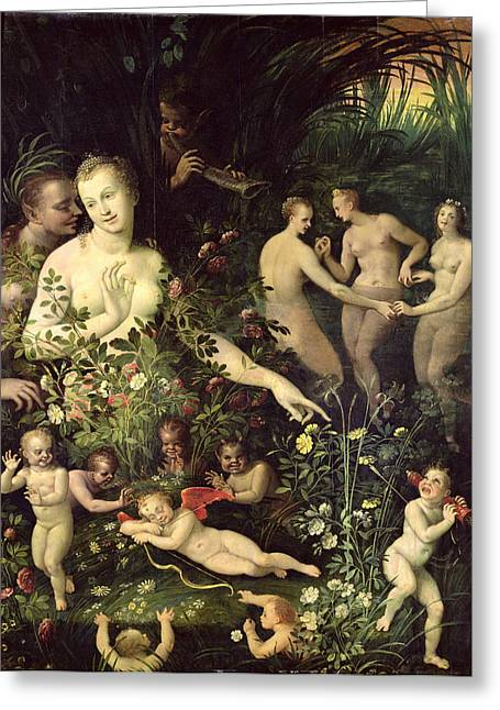 Amour Greeting Cards - Allegory Of Water Or Allegory Of Love Oil On Canvas Greeting Card by Fontainebleau School