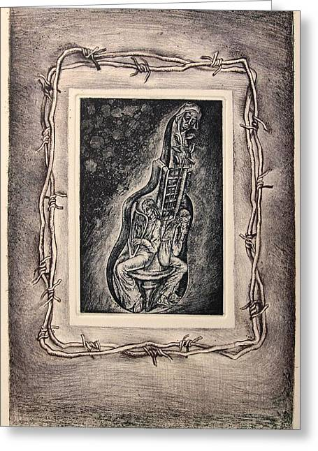 Drypoint Greeting Cards - Allegory. Series Seven Deadly Sins Greeting Card by Leonid Stroganov