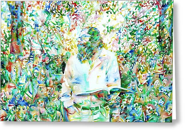 Reading Images Greeting Cards - ALLEN GINSBERG reading at the park Greeting Card by Fabrizio Cassetta