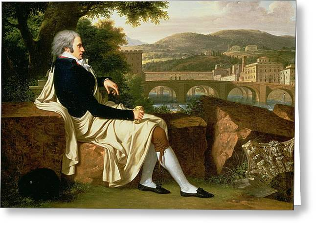 Full-length Portrait Greeting Cards - Allen Smith Seated Above The River Greeting Card by Francois Xavier Fabre