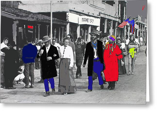 Confederate Flag Greeting Cards - Allen Street strollers Tombstone Arizona 1970-2012 Greeting Card by David Lee Guss