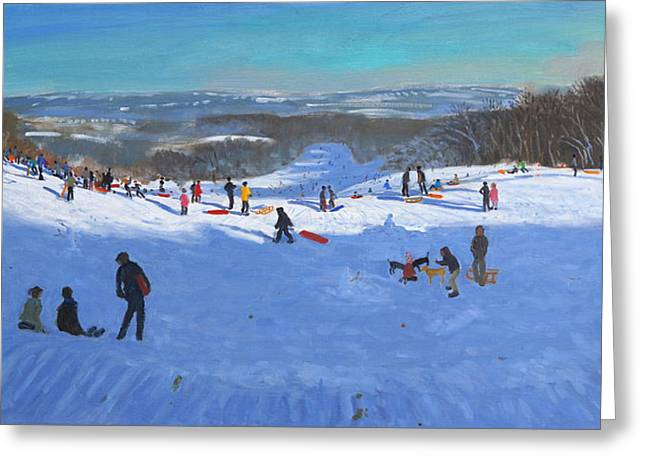 Skiing Christmas Cards Greeting Cards - Allestree Park Derby Greeting Card by Andrew Macara