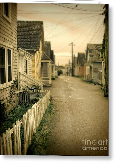Alley And Abandoned Houses Greeting Card by Jill Battaglia