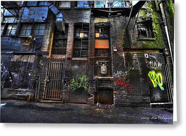 Wesley Allen Photography Greeting Cards - Alley Art 7 Greeting Card by Wesley Allen Shaw