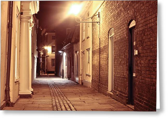 Alleys Greeting Cards - Alley at night Greeting Card by Tom Gowanlock