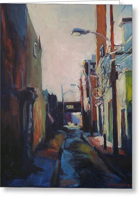 Manufacturing Paintings Greeting Cards - Alley Bridge Greeting Card by Jesse Gardner