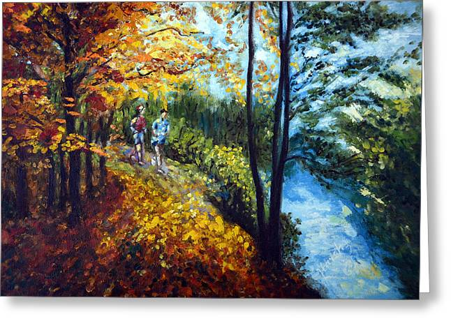 Jogging Greeting Cards - Alley by the Lake 1 Greeting Card by Harsh Malik