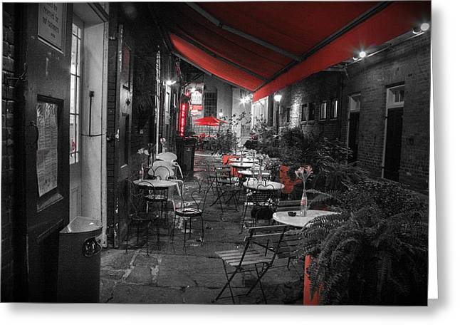 Cajun Cafe Greeting Cards - Alley Cafe Greeting Card by Jeff Mize