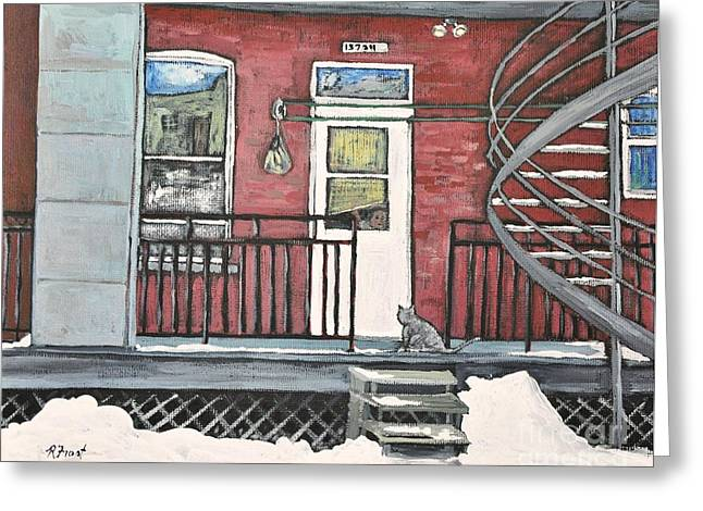 Montreal Winter Scenes Paintings Greeting Cards - Alley Cat in Verdun Greeting Card by Reb Frost