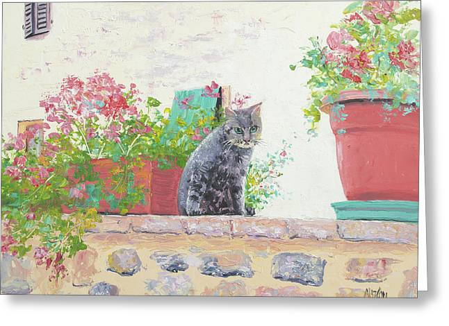 Alley Cat Greeting Card by Jan Matson