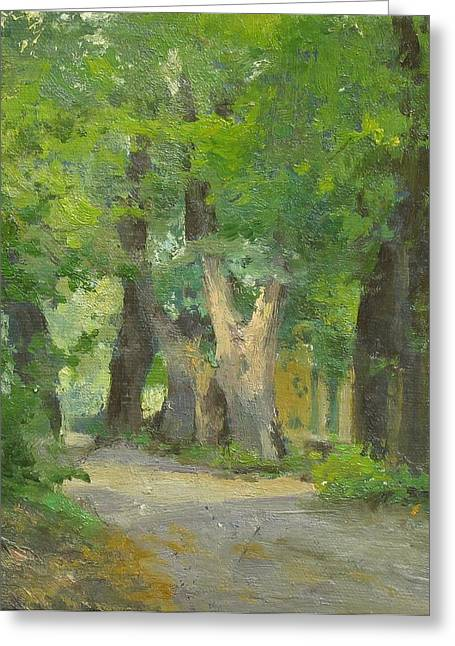 Summer Landscape Greeting Cards - Alley in an old park Greeting Card by Victoria Kharchenko