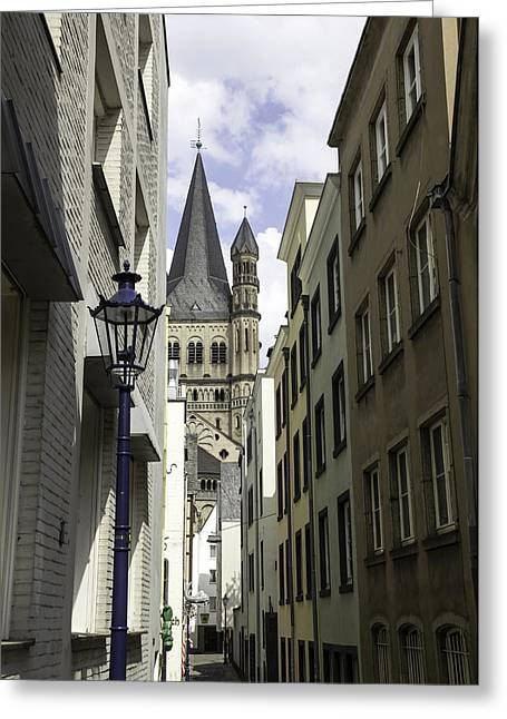 Prussian Blue Greeting Cards - Alley in Cologne Germany Greeting Card by Teresa Mucha