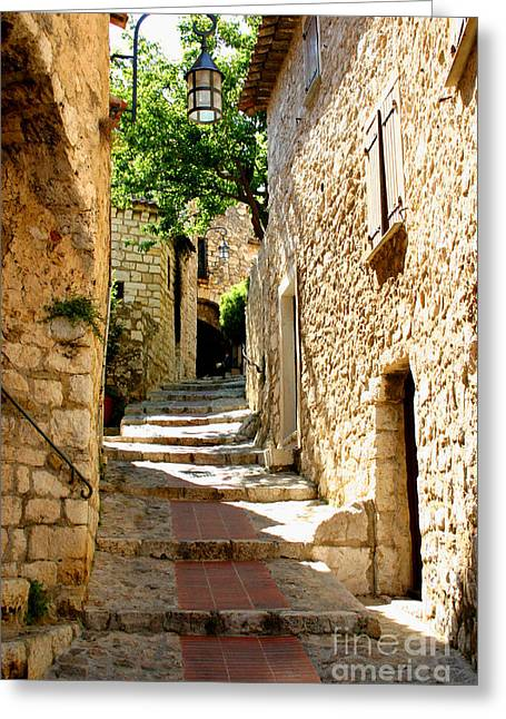 Provence Village Photographs Greeting Cards - Alley In Eze, France Greeting Card by Holly C. Freeman