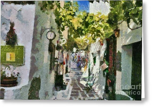 Ios Greeting Cards - Alley in Ios town Greeting Card by George Atsametakis