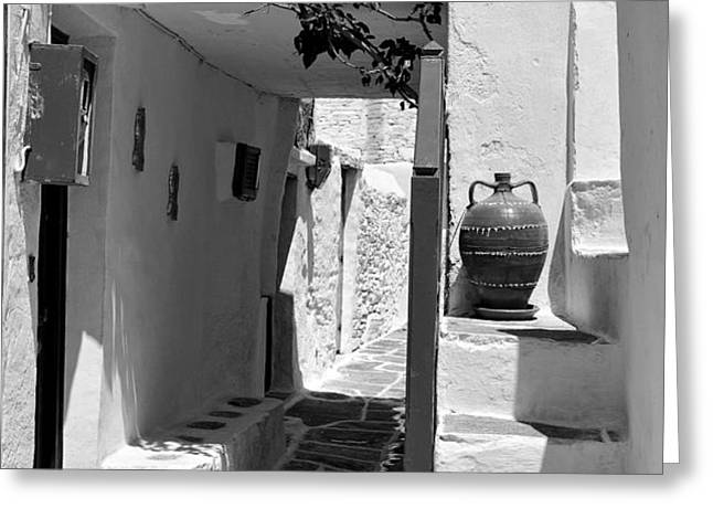 Alley in Kastro village Greeting Card by George Atsametakis