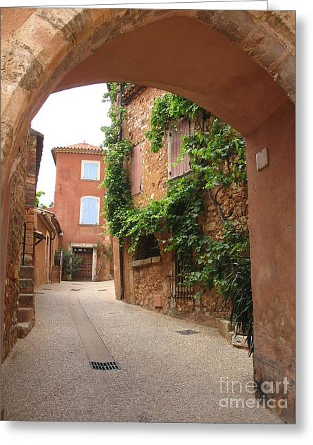 Provence Village Greeting Cards - Alley In Roussillion Greeting Card by Christiane Schulze Art And Photography