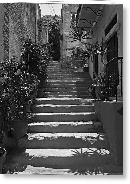 Alley In Symi Island Greeting Card by George Atsametakis