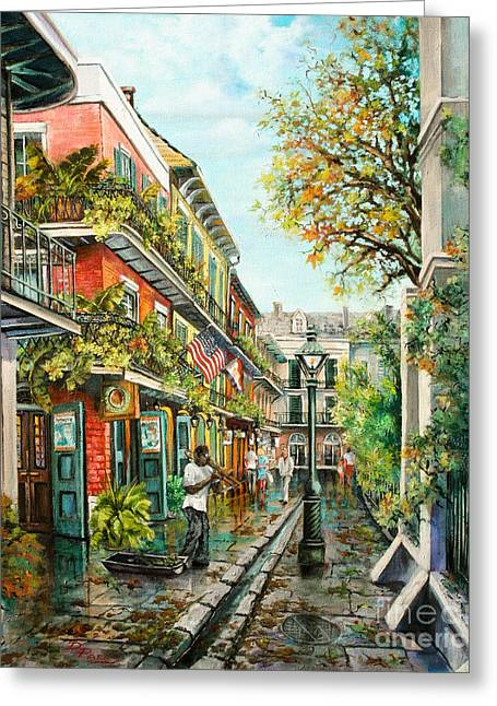 Park Scene Paintings Greeting Cards - Alley Jazz Greeting Card by Dianne Parks