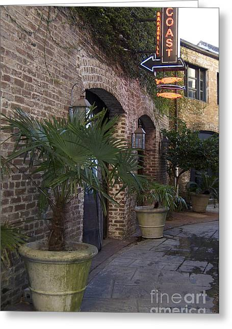Scenic Tours Greeting Cards - Alley Restaurant Greeting Card by Skip Willits