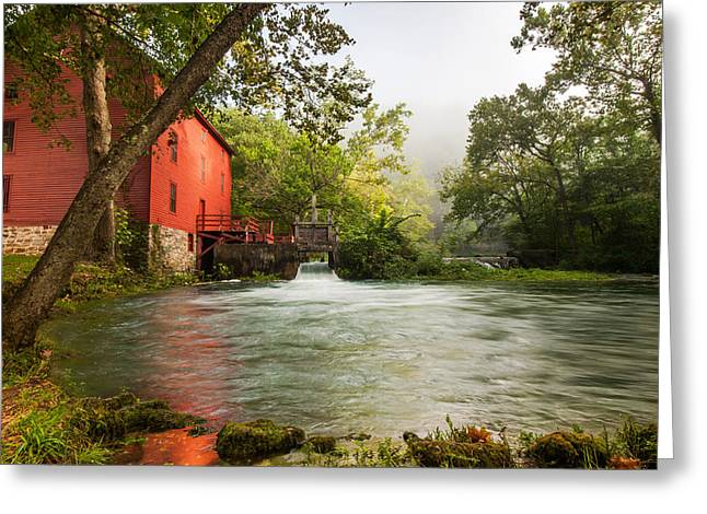 Alley Spring Grist Mill Waterfall And Lake Greeting Card by Gregory Ballos