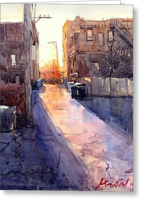 Sun Rays Paintings Greeting Cards - Alley Sunset Greeting Card by Max Good