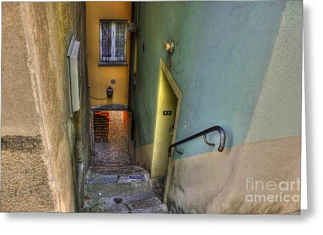 Alley Stairs Greeting Cards - Alley with stairs Greeting Card by Mats Silvan