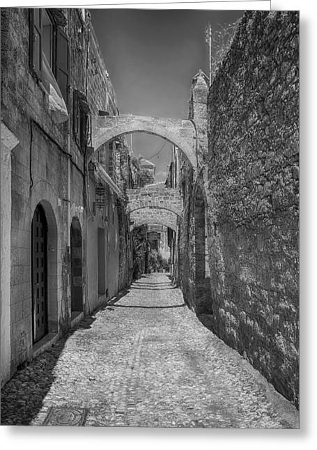 Rhodes Greeting Cards - Alleys of Rhodes Greece Greeting Card by Mountain Dreams