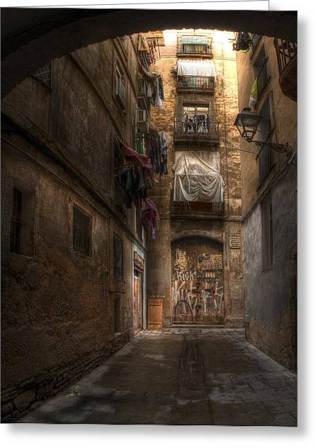 Rincon Greeting Cards - Alleyway in the Old City of Barcelona Greeting Card by Geoff Harrison