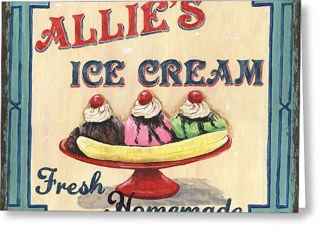 Strawberries Greeting Cards - Allies Ice Cream Greeting Card by Debbie DeWitt
