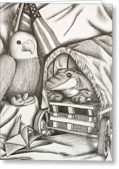 Conestoga Drawings Greeting Cards - Alligator and Eagle Still Life Greeting Card by Jeanette K