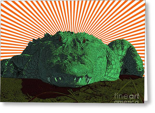 Al Powell Photography Usa Mixed Media Greeting Cards - Alligator Art Greeting Card by Al Powell Photography USA