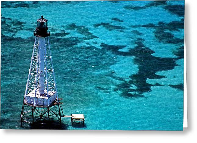 Ocean Art Photos Greeting Cards - Alligator Reef Lighthouse Greeting Card by Skip Willits