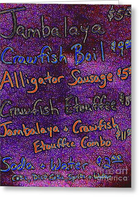 Gumbo Greeting Cards - Alligator Sausage For Five Dollars 20130610 Greeting Card by Wingsdomain Art and Photography