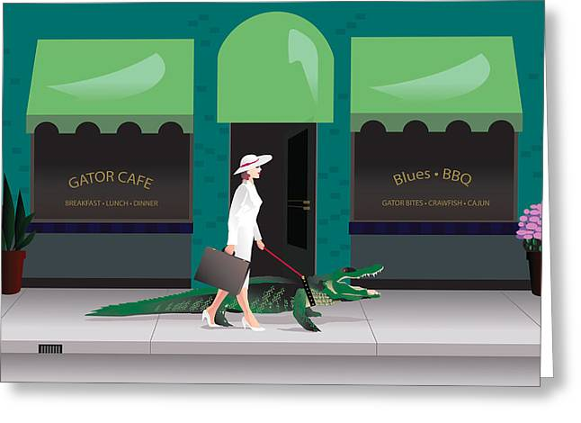 Family Walks Mixed Media Greeting Cards - Alligator Walk Greeting Card by Robert Korhonen