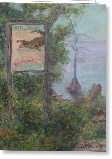 Florida Gators Paintings Greeting Cards - Alligators   Be Careful Greeting Card by Patty Weeks