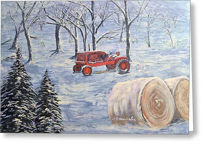 Pasture With Snow Greeting Cards - Allis in Wonderland Greeting Card by Michael Brumbeloe