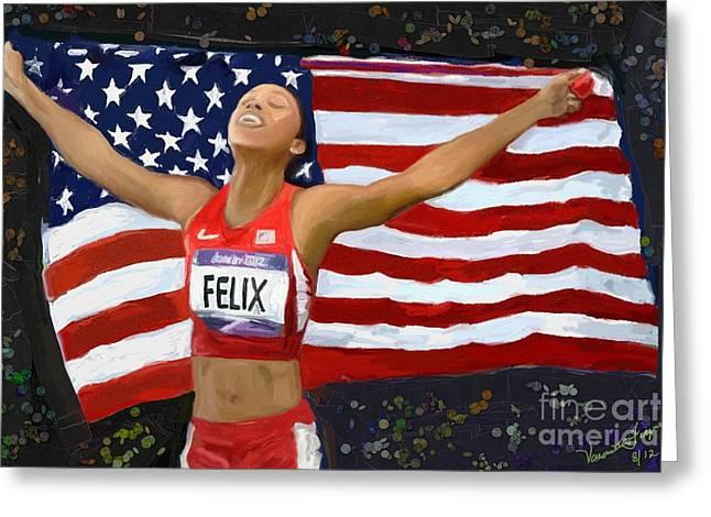 Olympics Pastels Greeting Cards - Allison Felix Olympian Gold Metalist Greeting Card by Vannetta Ferguson