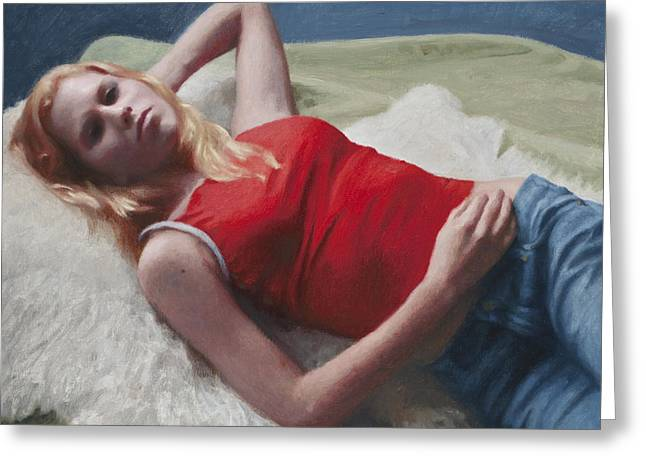 Allison Reclining Greeting Card by Charles Pompilius
