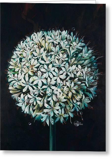Fantasy Realistic Still Life Paintings Greeting Cards - Allium Greeting Card by Lynette Yencho