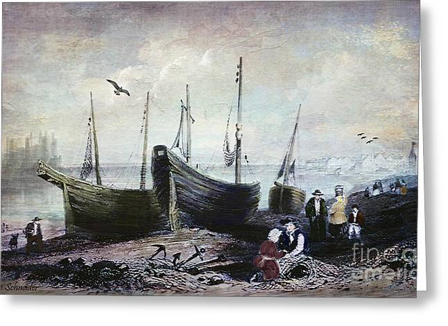 Quaker Greeting Cards - Allonby - Fishing Village 1840s Greeting Card by Lianne Schneider