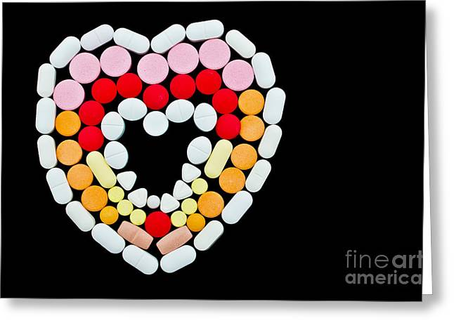 Medication Greeting Cards - Allopathic pills in heart shape Greeting Card by Image World
