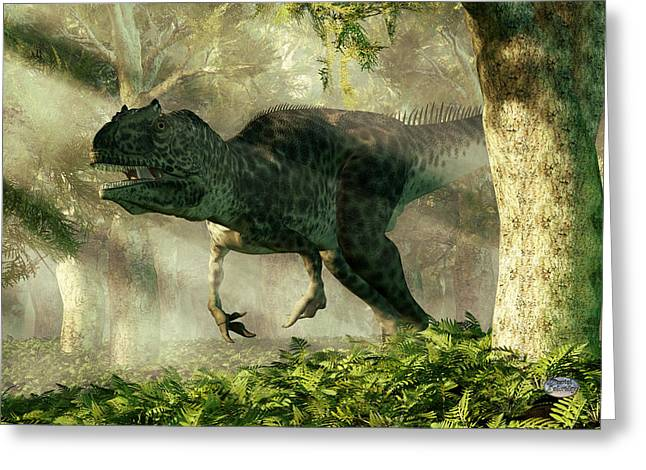 Jurassic Park Greeting Cards - Allosaurus in a Forest Greeting Card by Daniel Eskridge