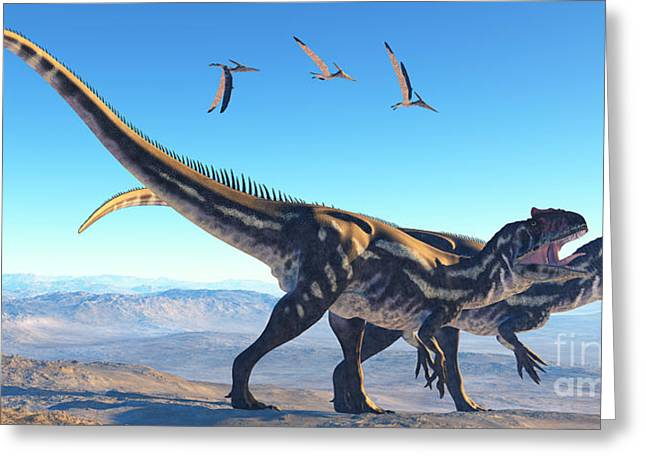 Pterosaur Greeting Cards - Allosaurus on Mountain Greeting Card by Corey Ford