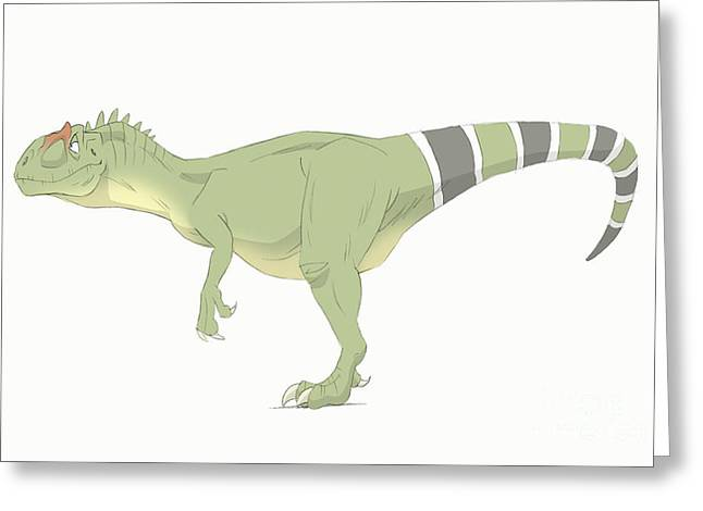 Paleontology Greeting Cards - Allosaurus Pencil Drawing With Digital Greeting Card by Alice Turner