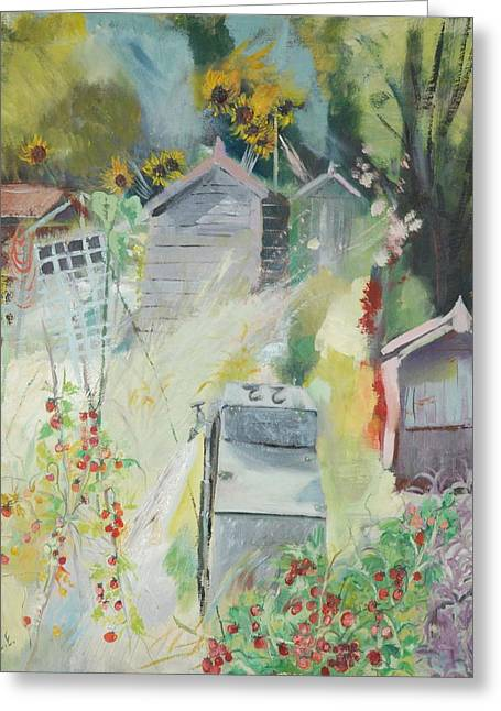 Sunflower Garden Greeting Cards - Allotment, Bishops Park, 2009 Oil On Canvas Greeting Card by Sophia Elliot