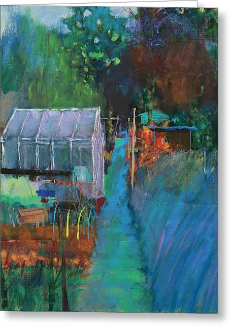Shed Paintings Greeting Cards - Allotment Greeting Card by Marco Cazzulini