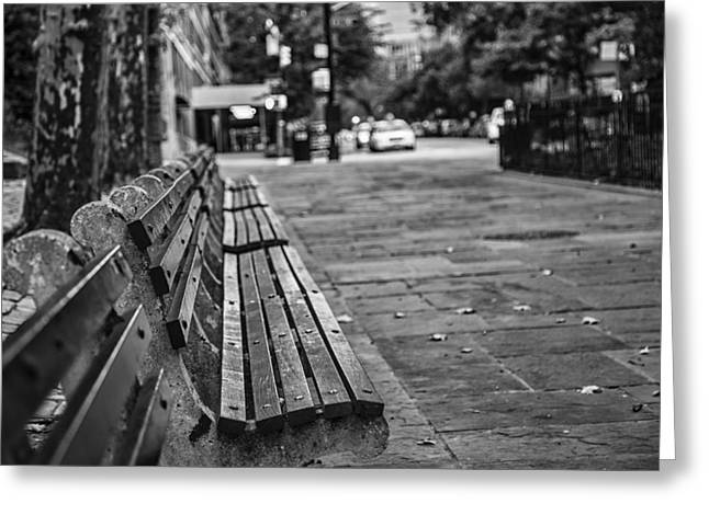 Empty Park Bench Greeting Cards - Alls Quiet In The City Greeting Card by Karol  Livote