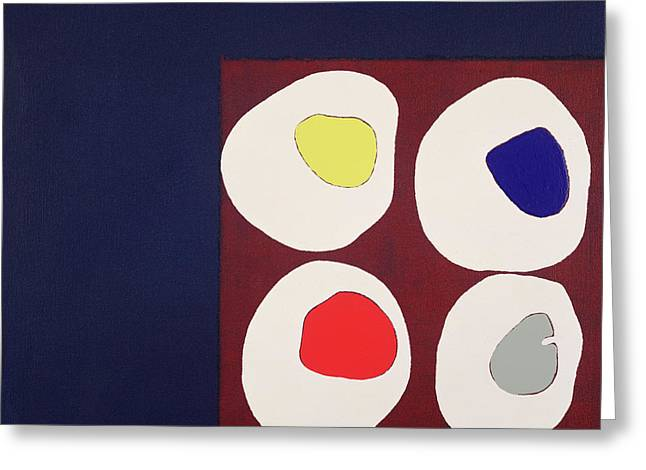 Abstract Shapes Greeting Cards - Allsorts, 1998 Acrylic On Canvas Greeting Card by Colin Booth