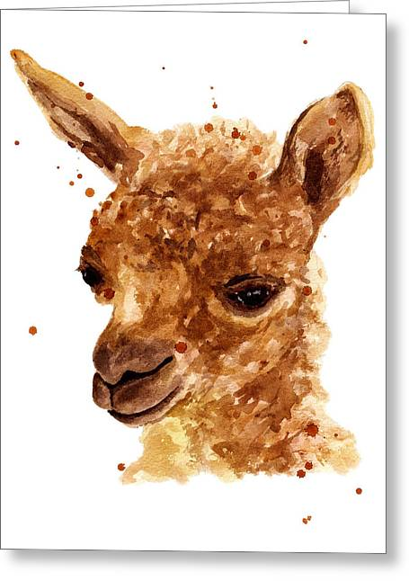 Alpacas Greeting Cards - Alluring Alpaca Greeting Card by Alison Fennell